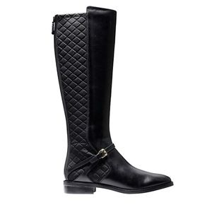 Cole Haan Knee High Round Toe Boots in Black